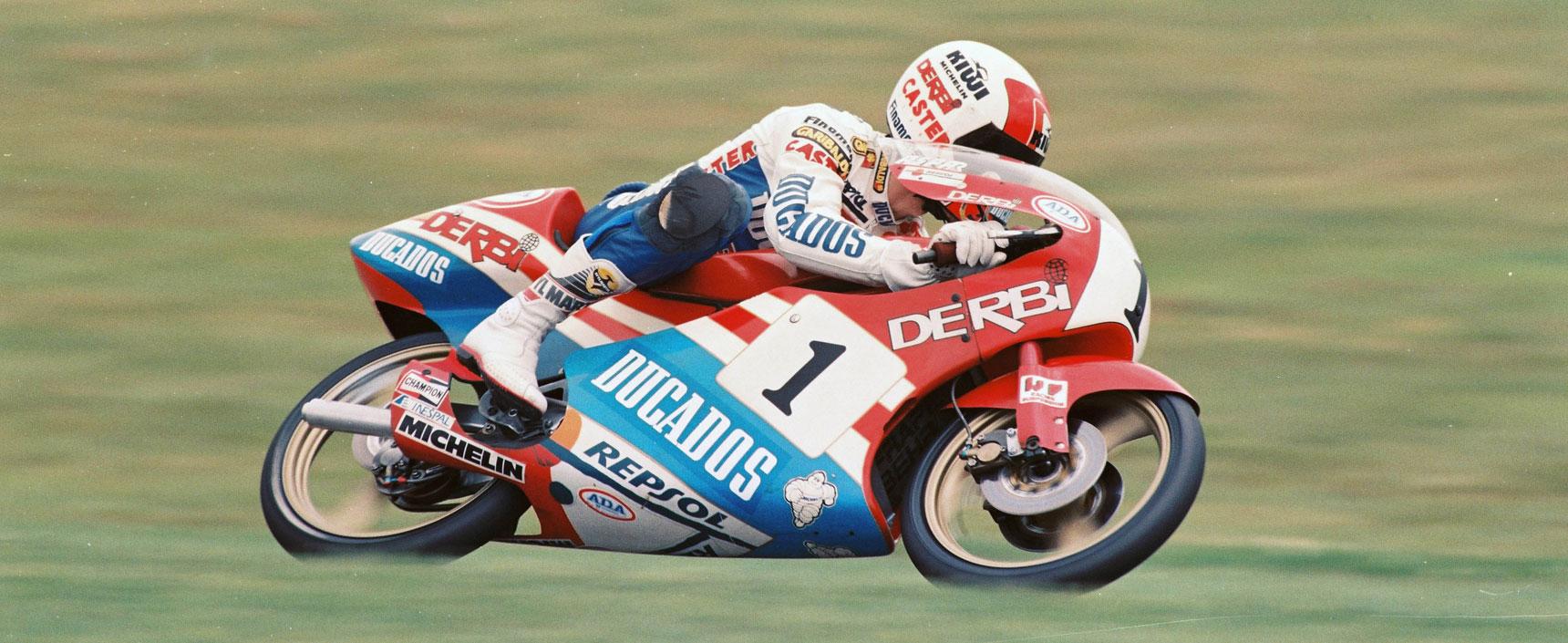 Jorge Martínez Aspar conquistó el campeonato del mundo de 80cc y 125 cc en 1988