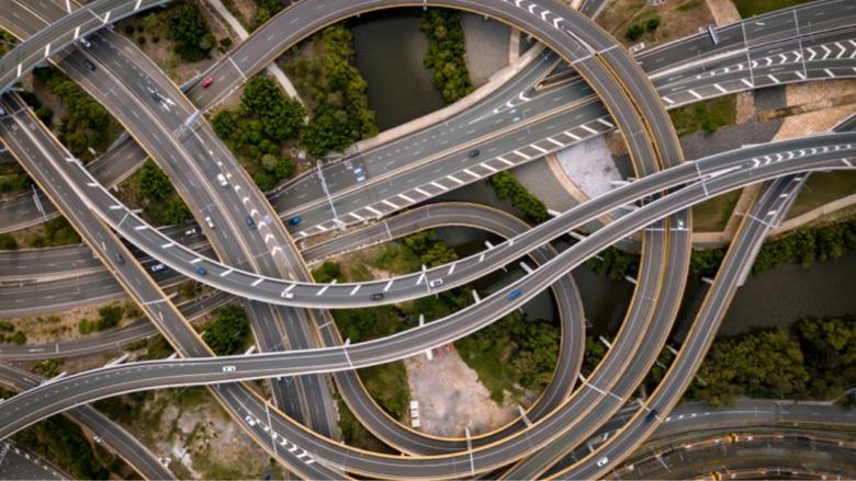 Conexiones a autovías a vista de pájaro