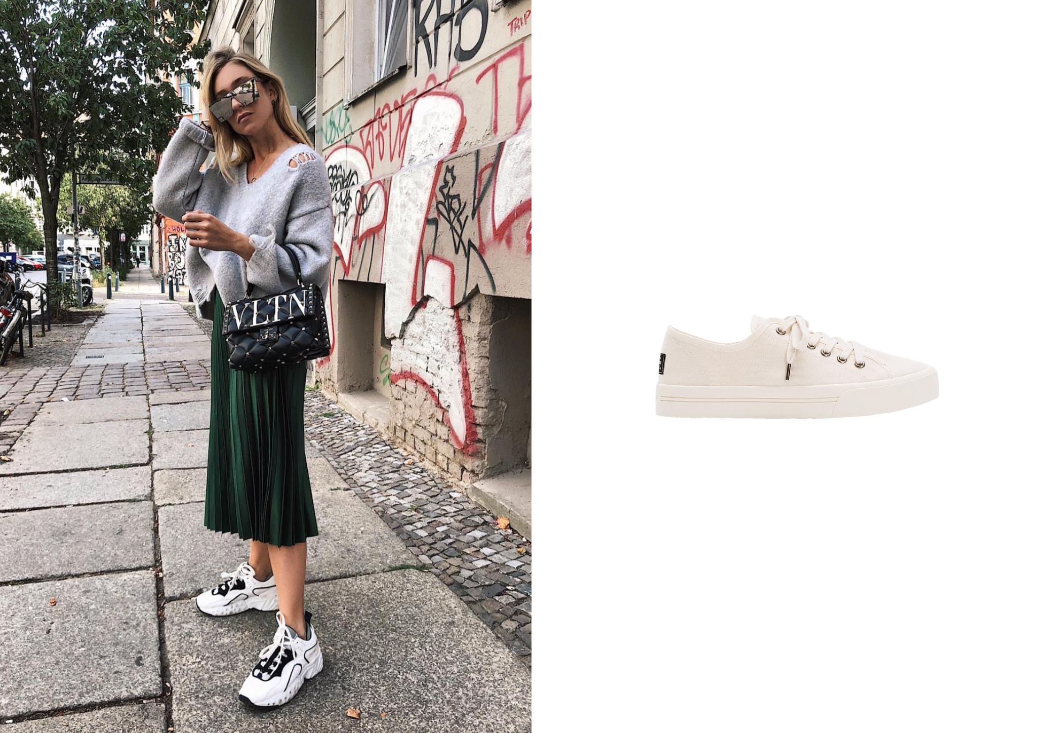 De izq a dcha: Sonia Lyson con ugly sneakers en blanco y negro y zapatillas blancas con suela de goma de Pompeii, 55 €. (@soniafrancex y cortesía de la marca)