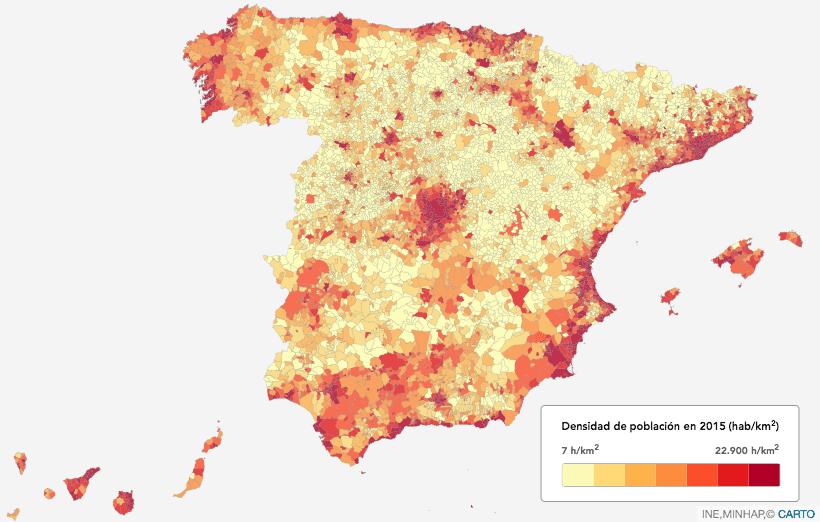 Resultado de imagen de DENSIDAD POBLACION ESPAÃ'A