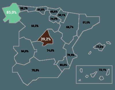 Mapa del estado del PIB de España