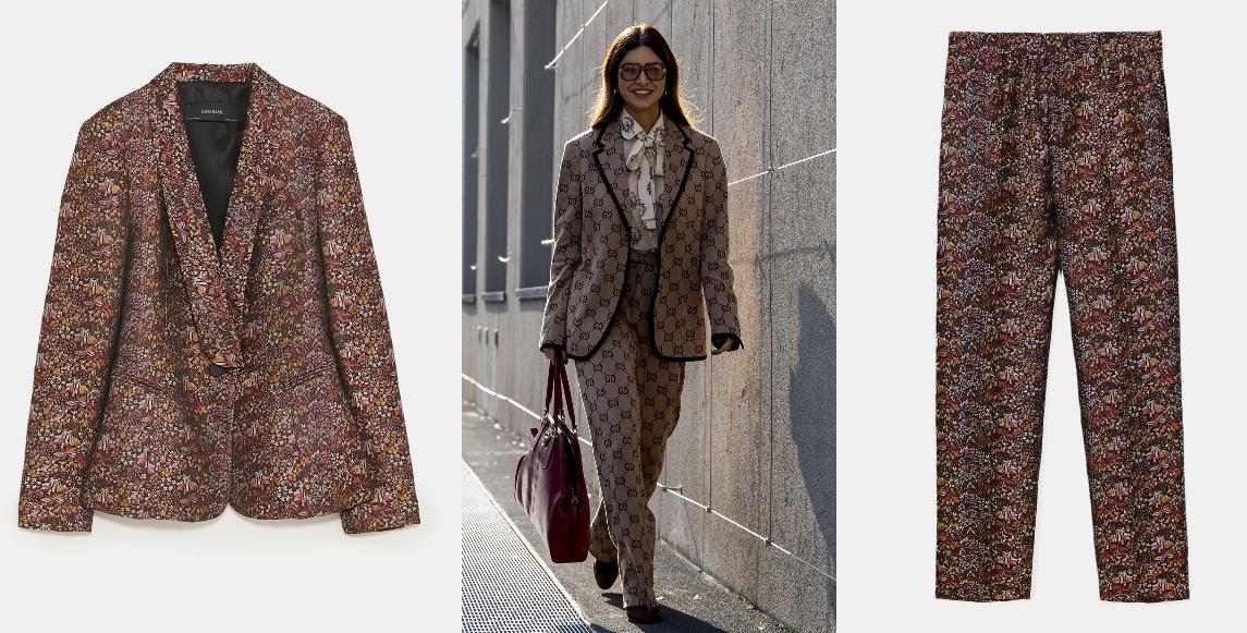 Tendencia print: blazer (49,95 €) y pantalón (29,95 €), todo de Zara.