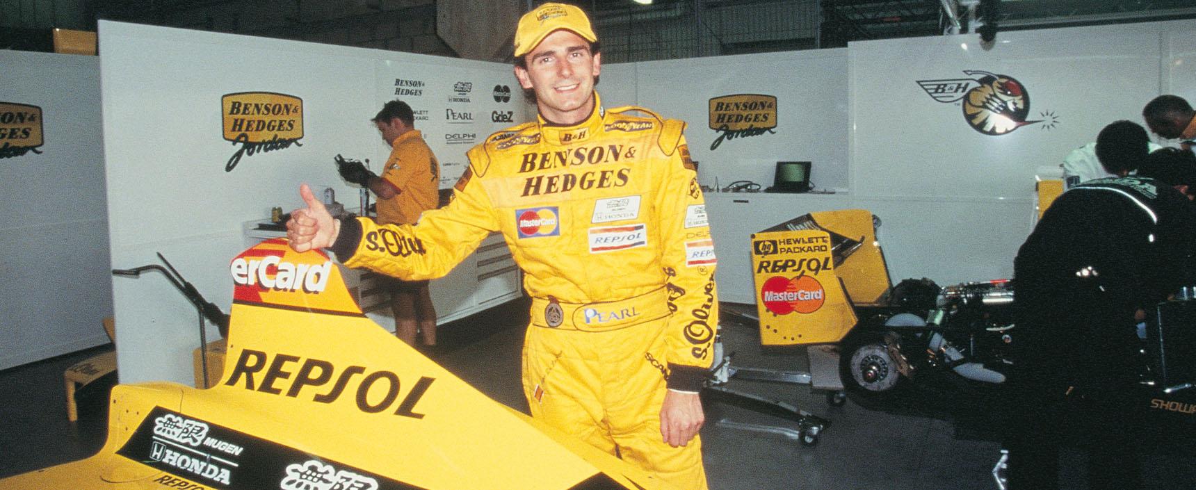 El español Pedro Martínez de la Rosa como piloto de pruebas de la escudería Jordan, primer equipo que patrocinó Repsol