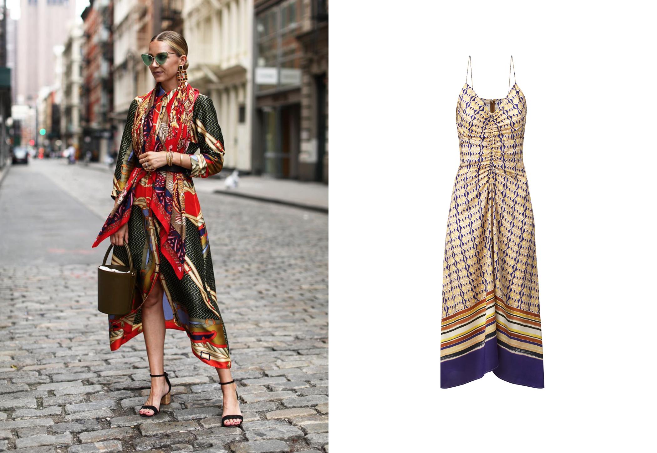 Blair Eadie con vestido con print de pañuelo vintage de Zara y vestido con tirantes spaghetti de Mango, 39,99 €. (@blaireadiebee y cortesía de la marca)
