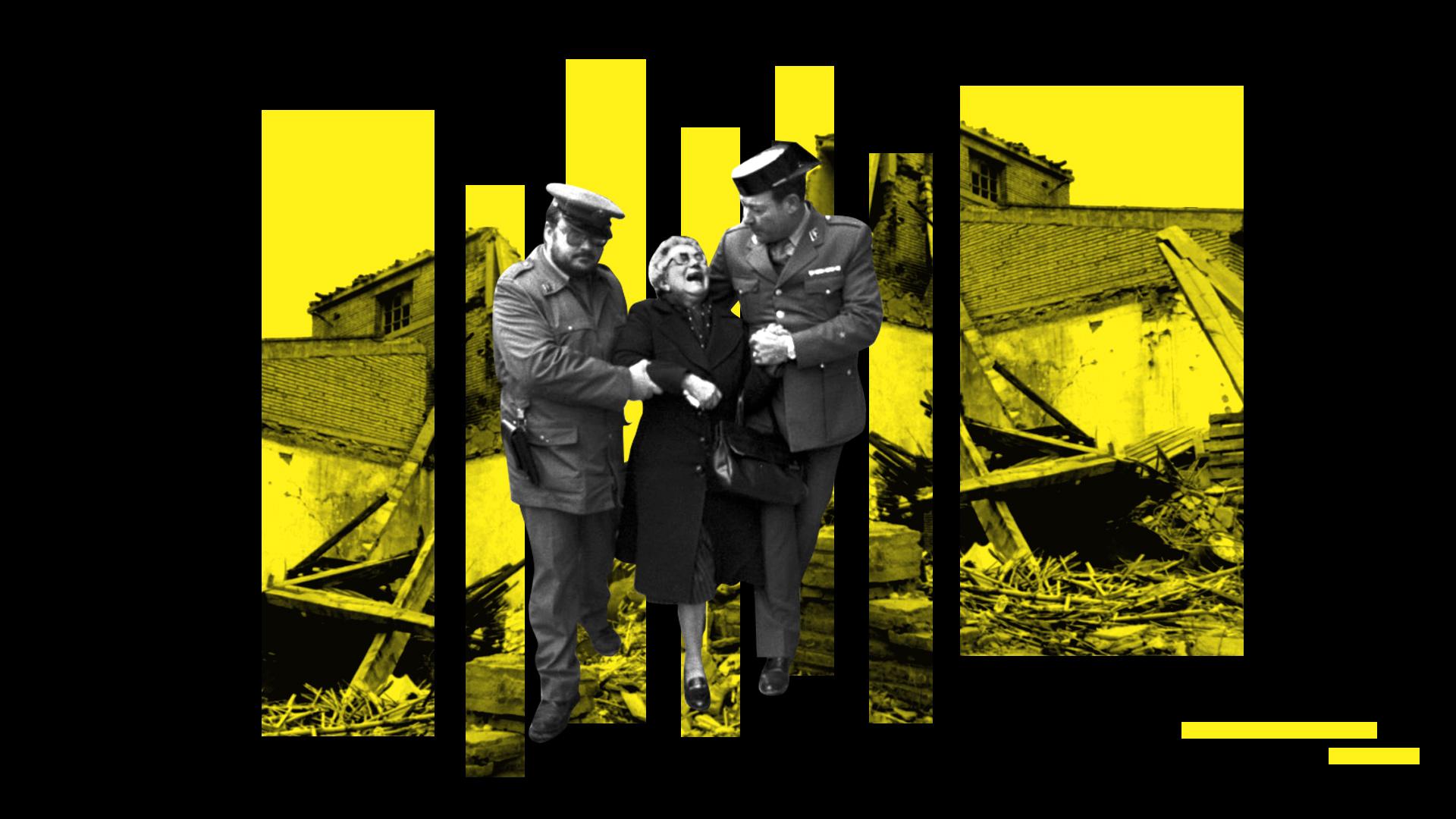 Ilustración de los momentos tras el atentado de la Casa Cuartel de Zaragoza