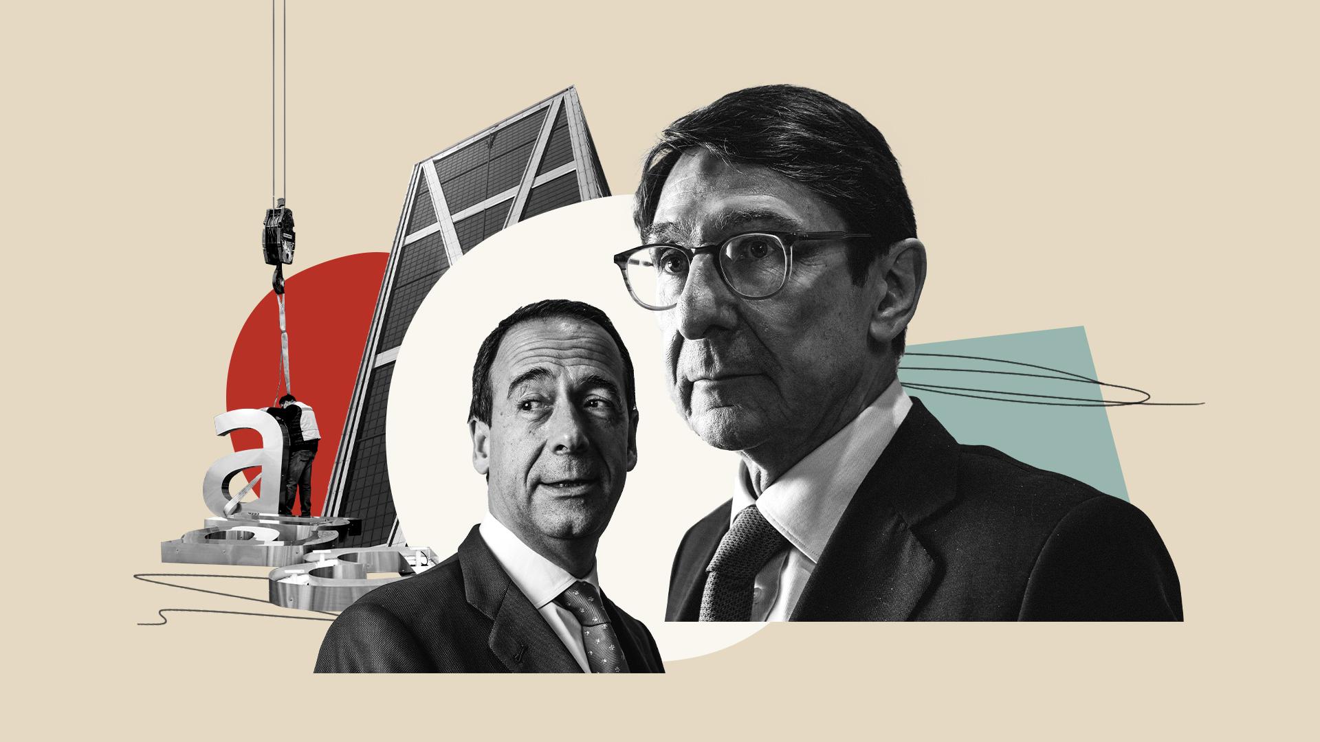 Ilustración sobre la fusión de Bankia y Caixabank