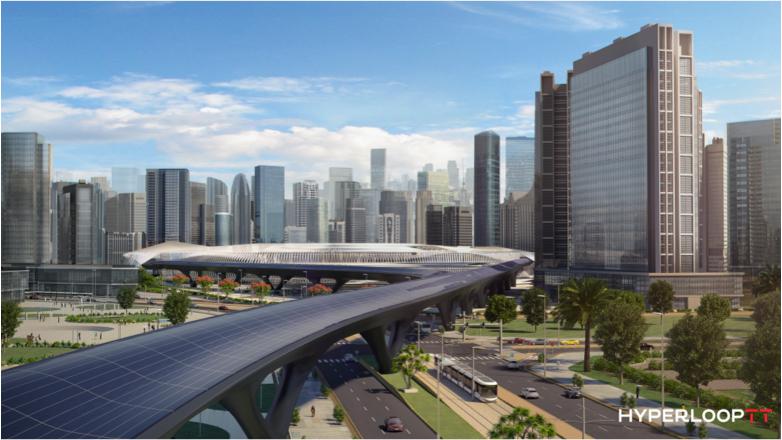 Ciudad futurista con hyperloop