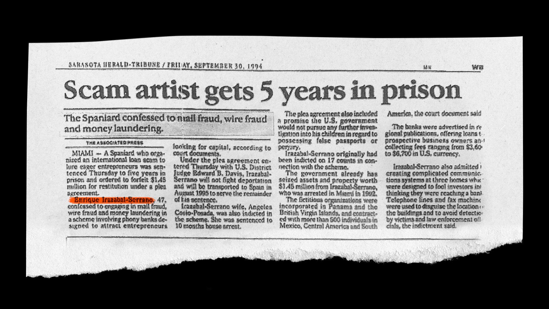 Artículo del Sarasota Herald Tribune