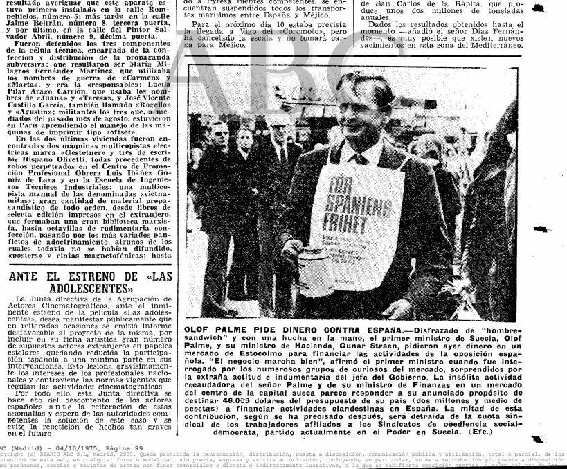 Ejemplar de archivo del diario ABC en 1975, en el que critica a Palme