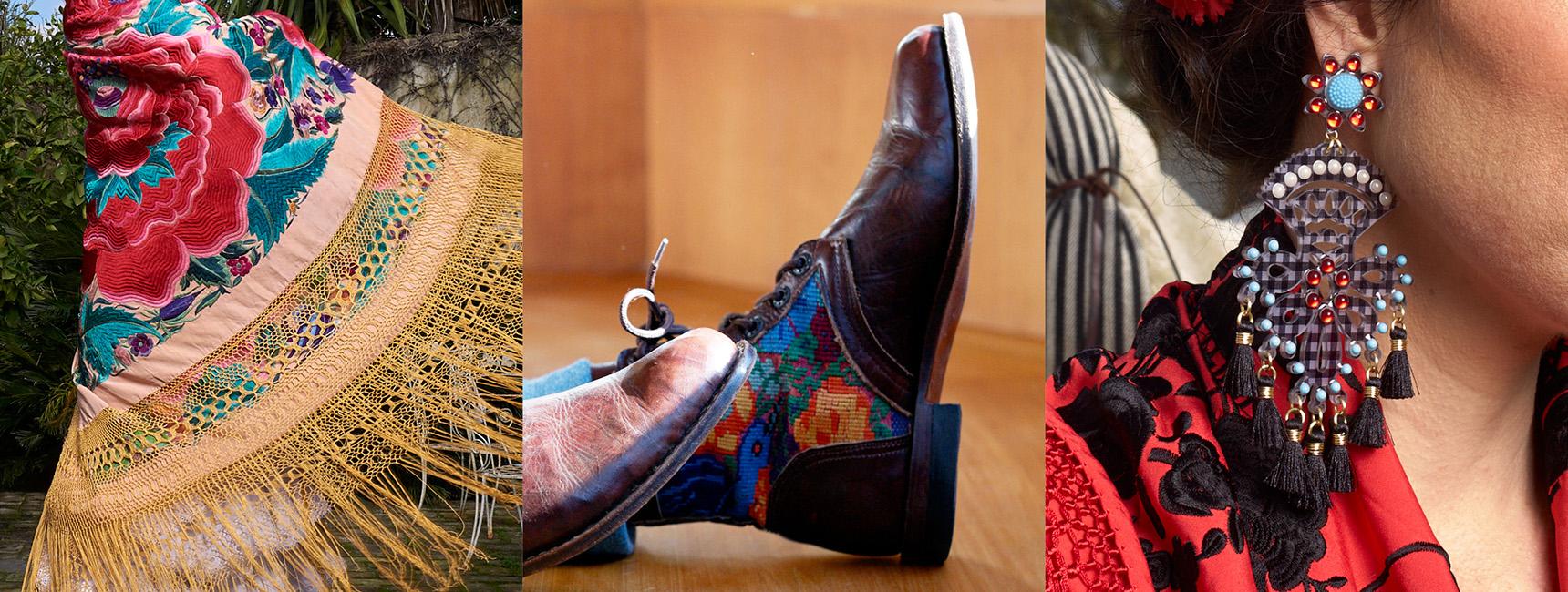 Mantón, botas y pendientes