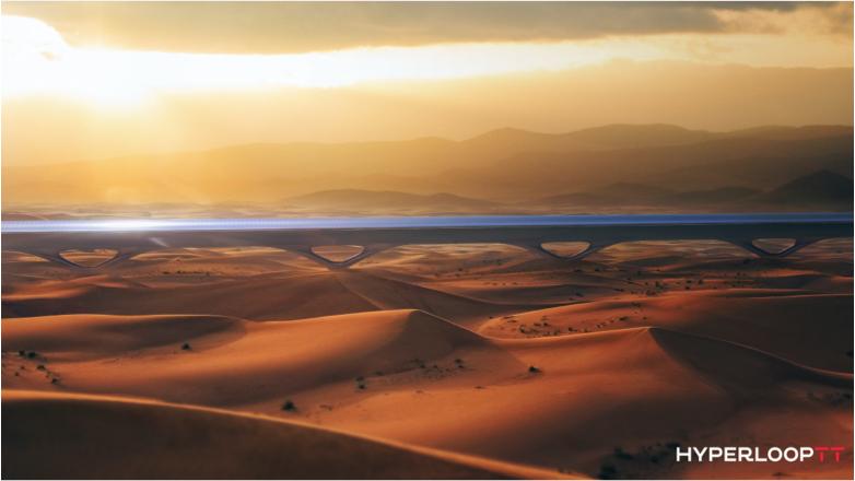 Concepto de Hyperloop cruzando un desierto