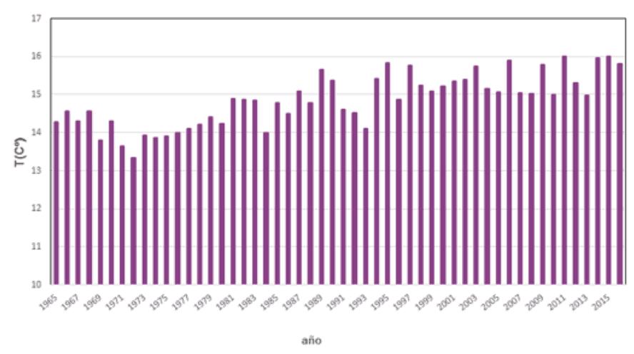 Serie de temperaturas medias anuales en España desde 1965.