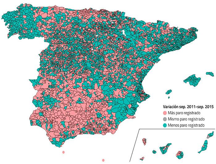 Mapa de variación de paro