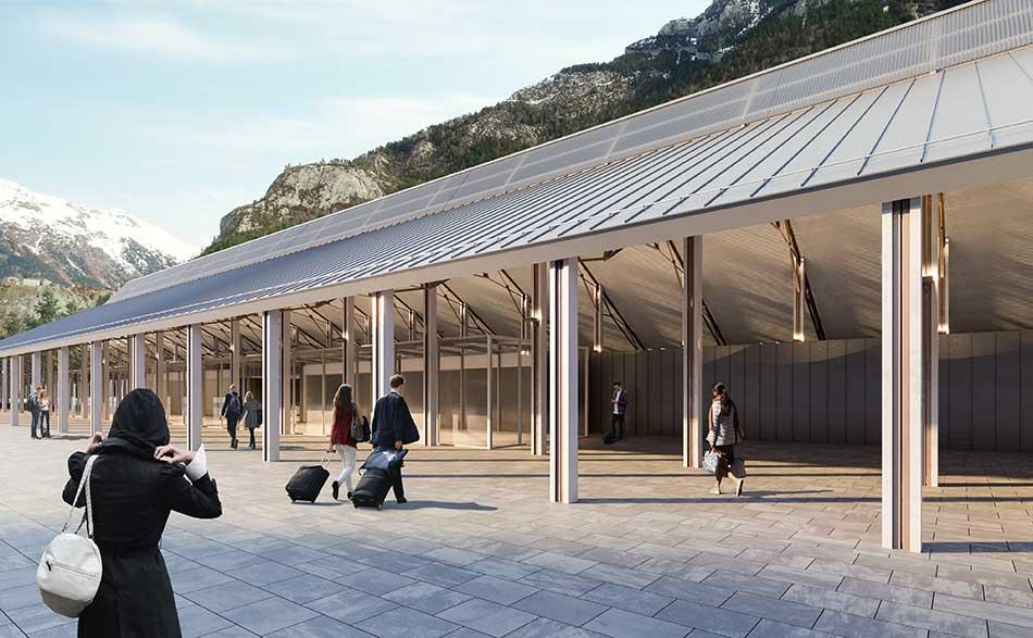Exterior de la nueva estación de Canfranc