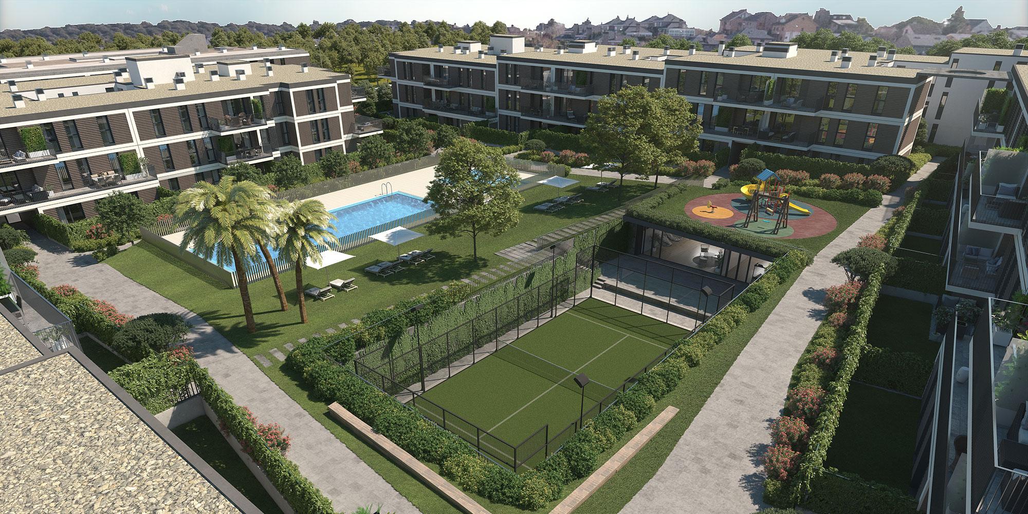 Como zonas comunes, Escalonia II ofrece piscina, pádel, gimnasio, sala de coworking y área de juegos infantiles