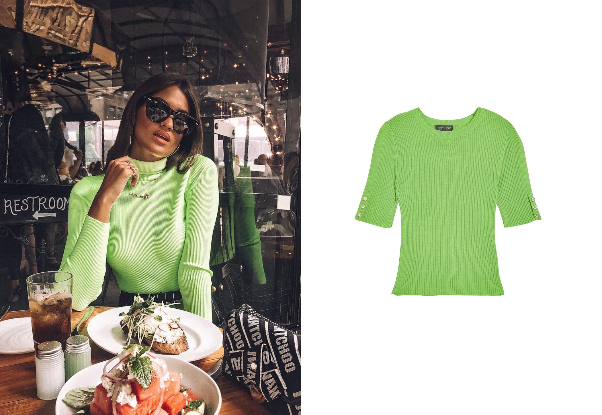 De izq a dcha: La influencer española Marta Lozano con jersey de cuello alto verde fosforito de Zara y top de canalé y manga corta de Topshop, 29 €. (@martalozano y cortesía de la marca)