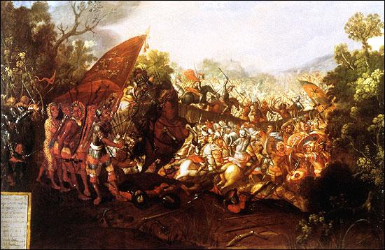 Óleo del siglo XVII que representa la batalla de Otumba.