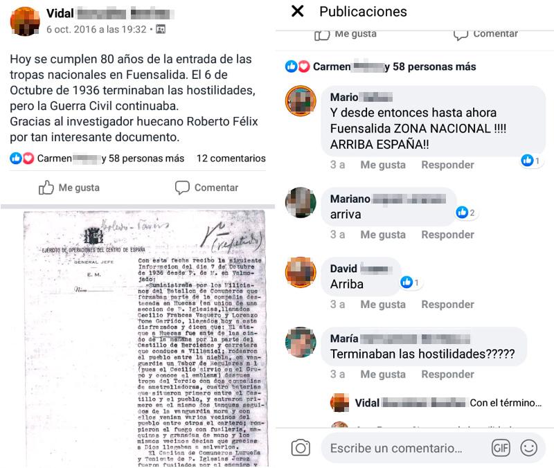 Captura del grupo de Facebook de los vecinos de Fuensalida. (Facebook)