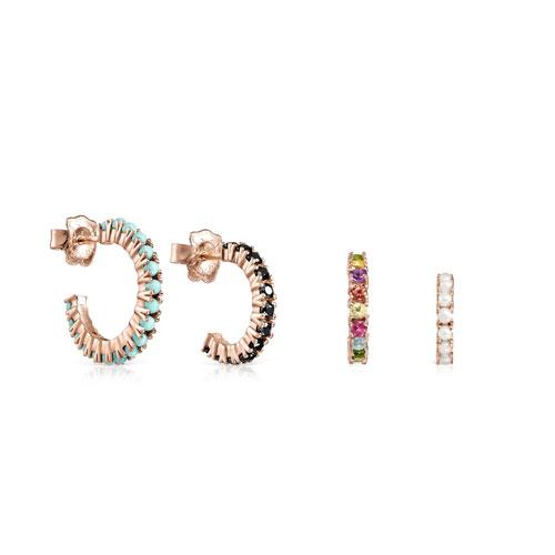Pack de pendientes Straight de plata vermeil rosa con gemas