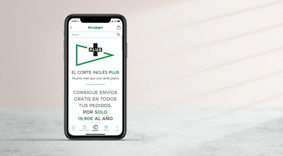 Un ejemplo de la presentación de la app de El Corte Inglés en un móvil