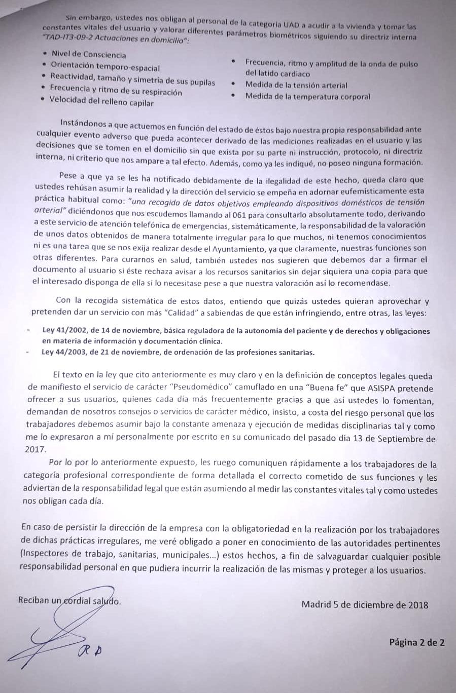 Carta enviada el año pasado por Rafael Aguilera. (Pinche para ampliar)