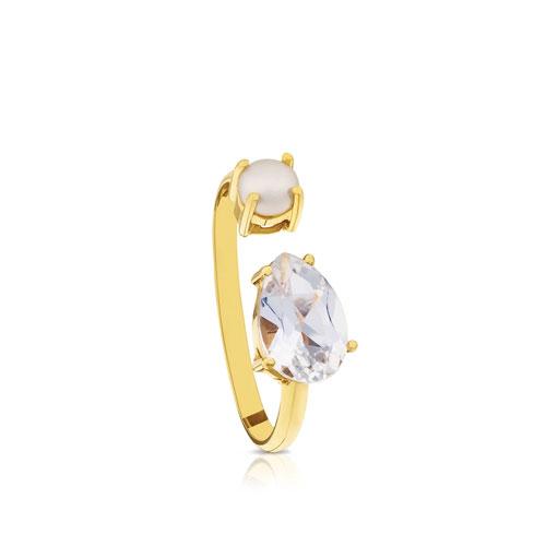 anillo Eklat de oro con topacio y perla