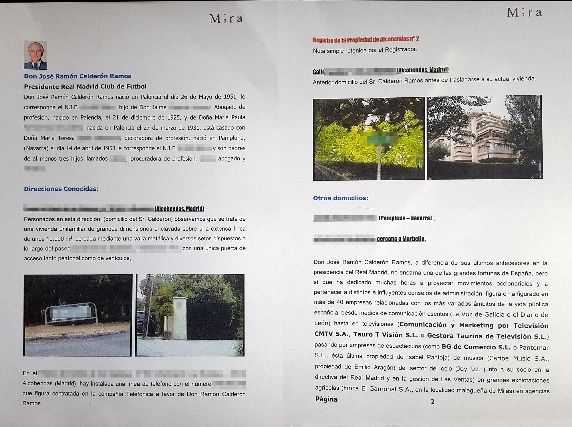 Las primeras páginas del dossier que la agencia de detectives Mira elaboró sobre Ramón Calderón