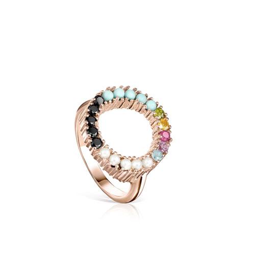 Anillo Straight disco de plata vermeil rosa con gemas