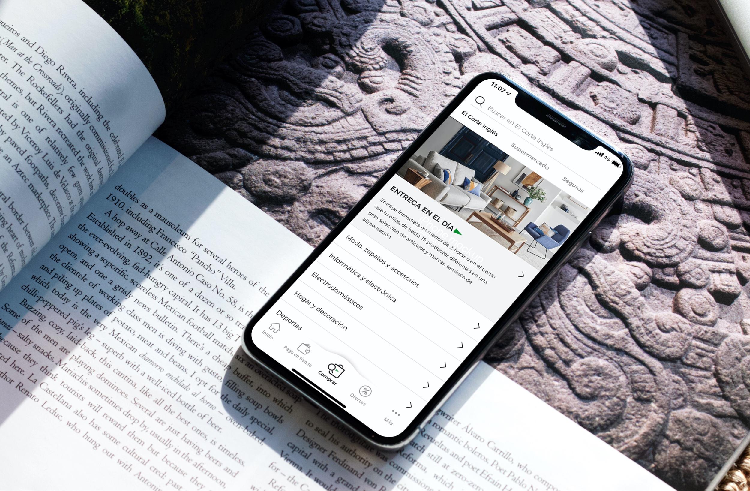 La app de El Corte Inglés en un móvil