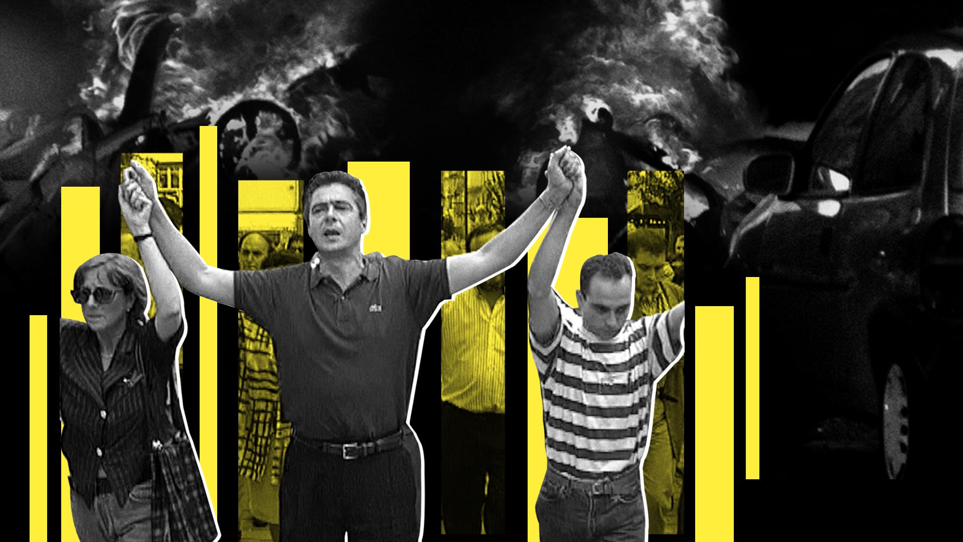 Ilustración de la manifestación en Ermua por Miguel Ángel Blanco
