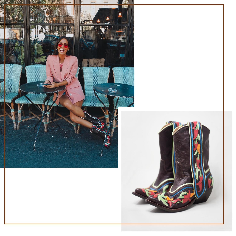 María Fernández Rubíes con las botas de chiles de Jeffrey Campbell. (Instagram / Cortesía de la marca)