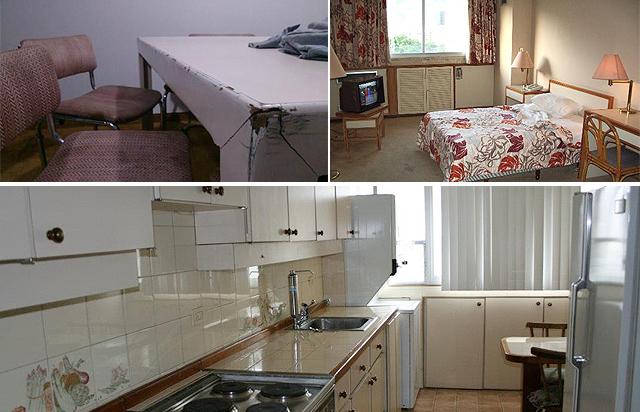 Imágenes de los apartamentos y habitaciones del viejo hotel