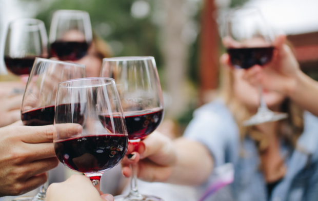 Brindando con copas de vino