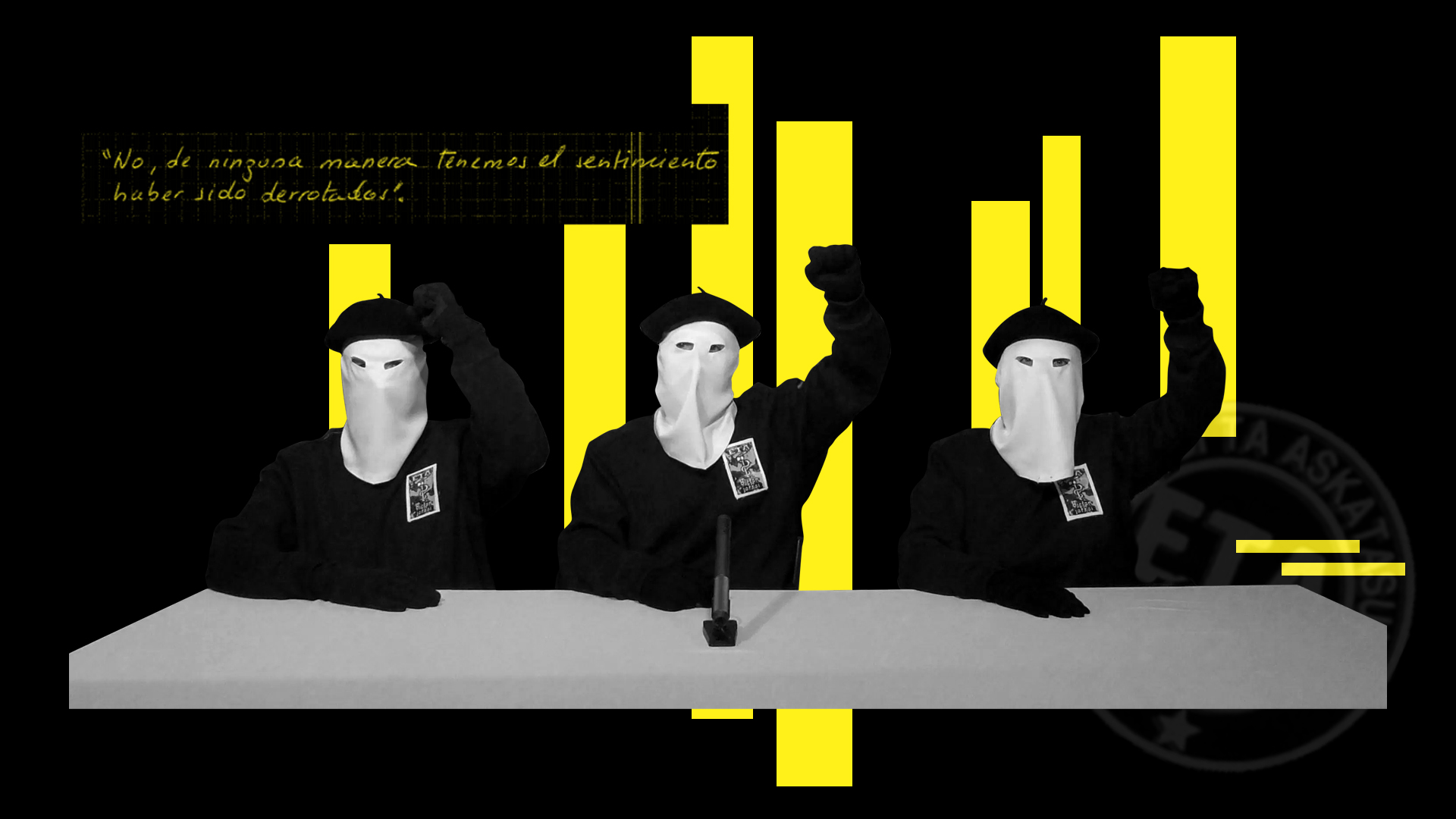Ilustración del momento en el que ETA anuncia el cese de su actividad