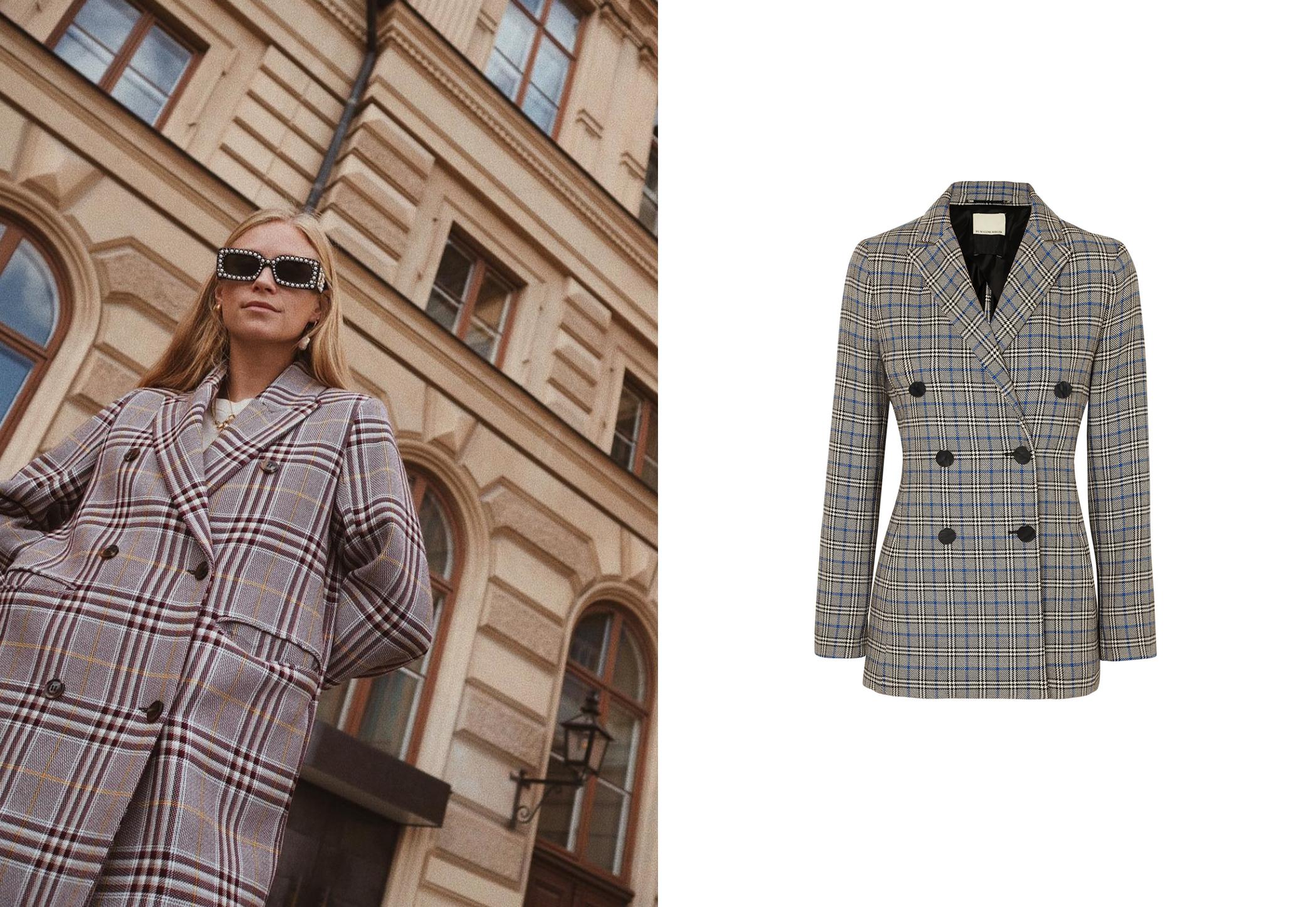 De izq a dcha: Tine Andrea con blazer cruzado de Samsoe & Samsoe y americana de algodón de By Malene Birger, 525 €. (@tineandrea y cortesía de la marca)