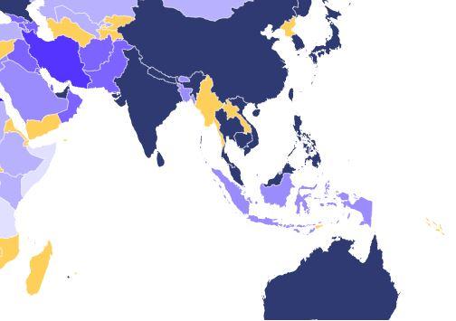 Mapa de países y contagios en el sudeste asiático. (M. Zuil)
