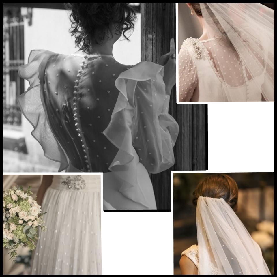 Detalles de plumeti de los vestidos diseñados por Teresa Palazuelo. (Instagram)