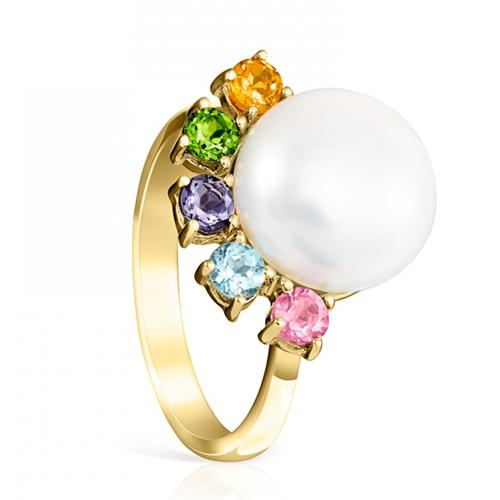 Anillo de la colección Real Sisy en oro con perla grande y gemas