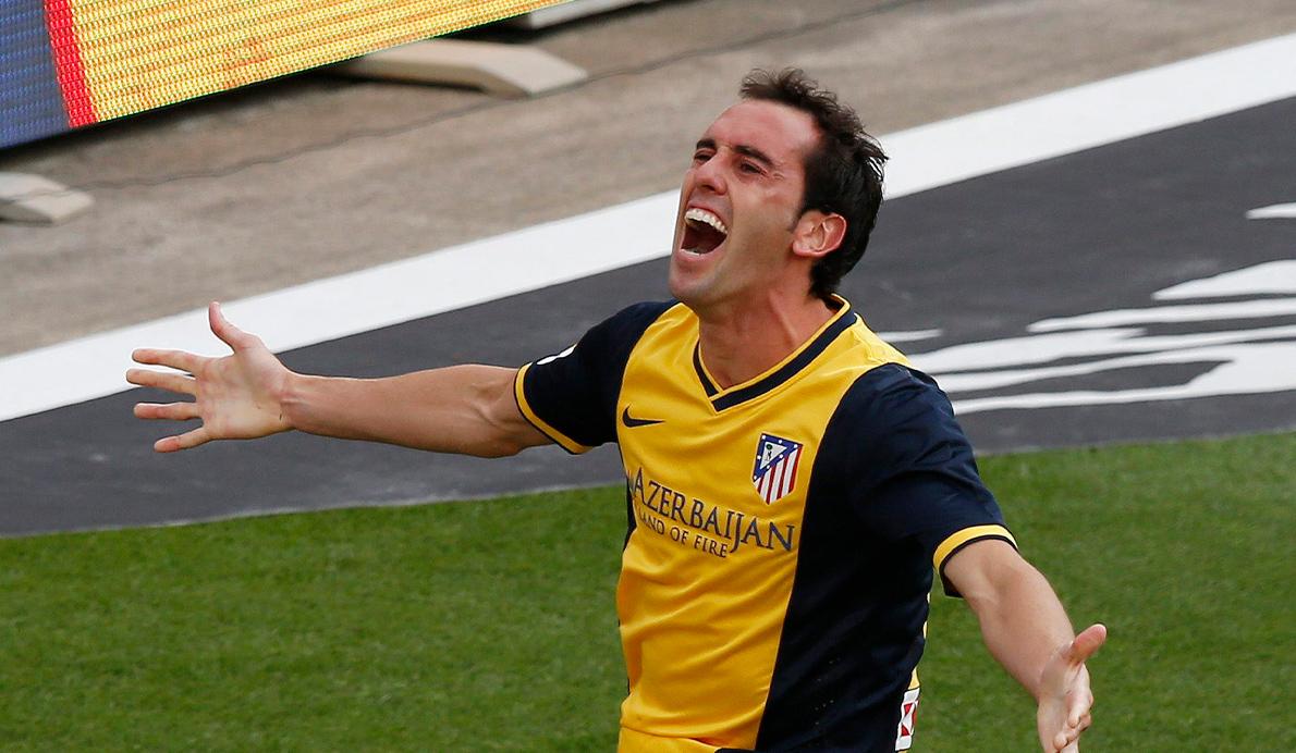 Godín celebra el gol en el Camp Nou en 2014 que les dio el título liguero