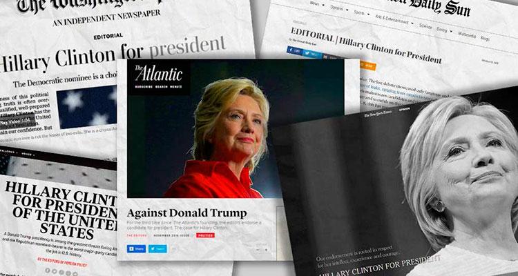 Por qué toda la prensa ha apoyado a Hillary Clinton en sus editoriales