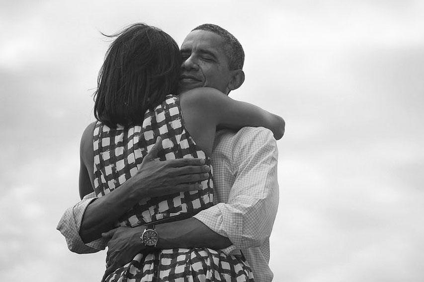 Abrazo de los Obama