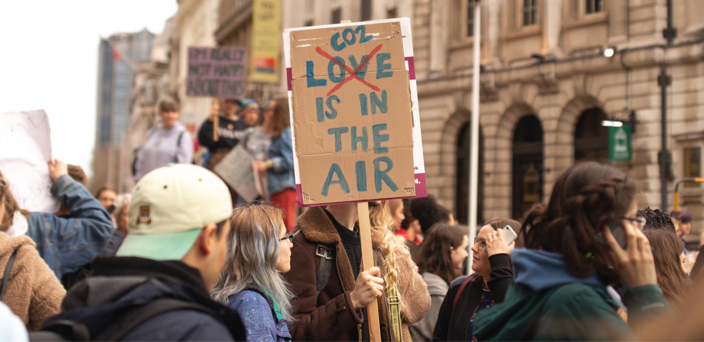 Una manifestación de protesta contra la contaminación ambiental