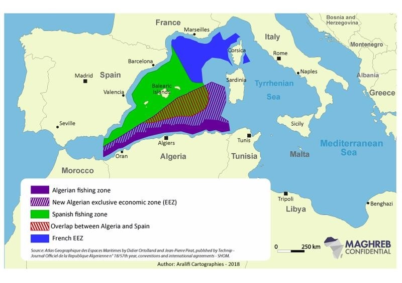Zonas marítimas de Argelia y España, así como las aspiraciones argelinas.