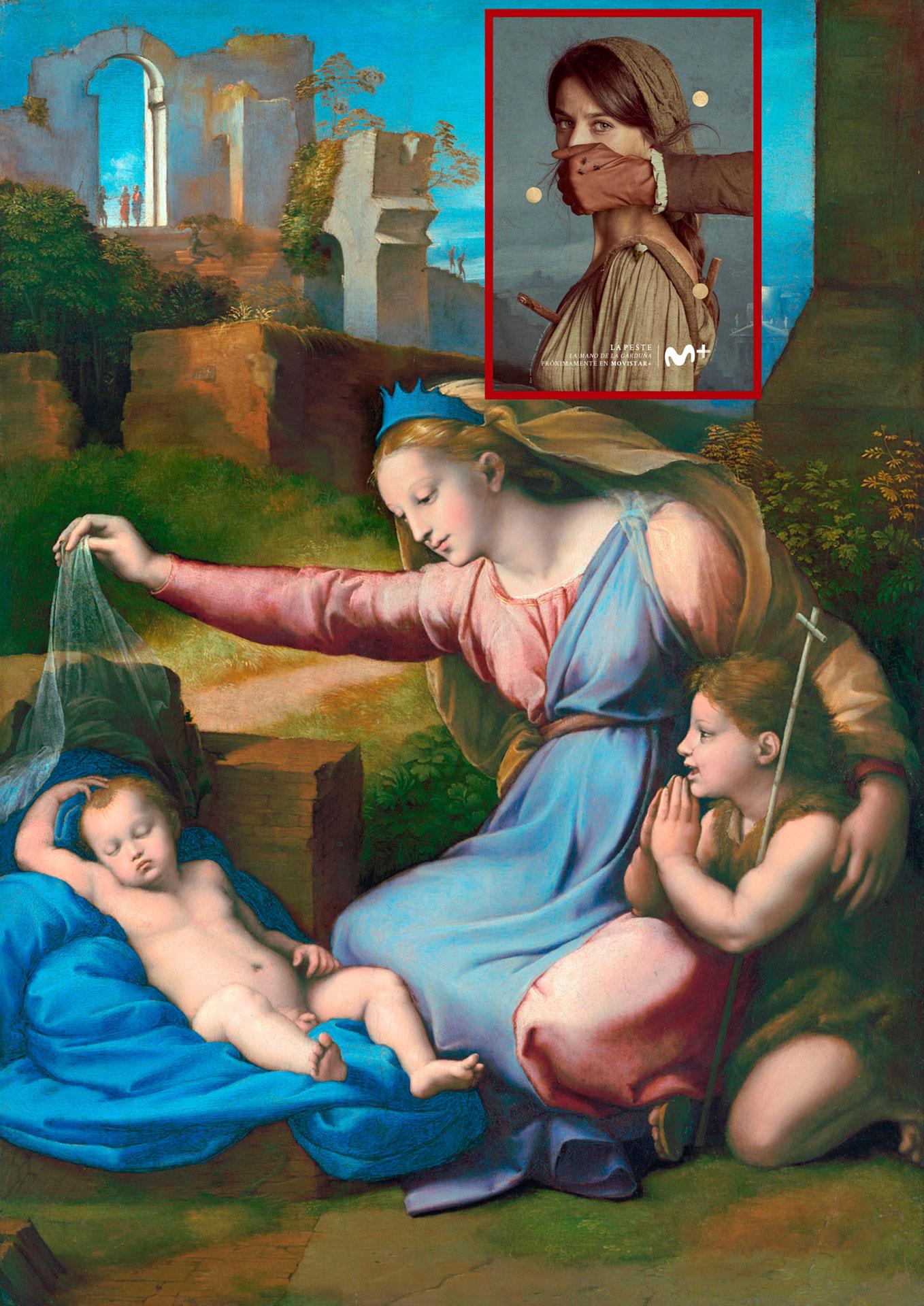 Madonna con diadema azul