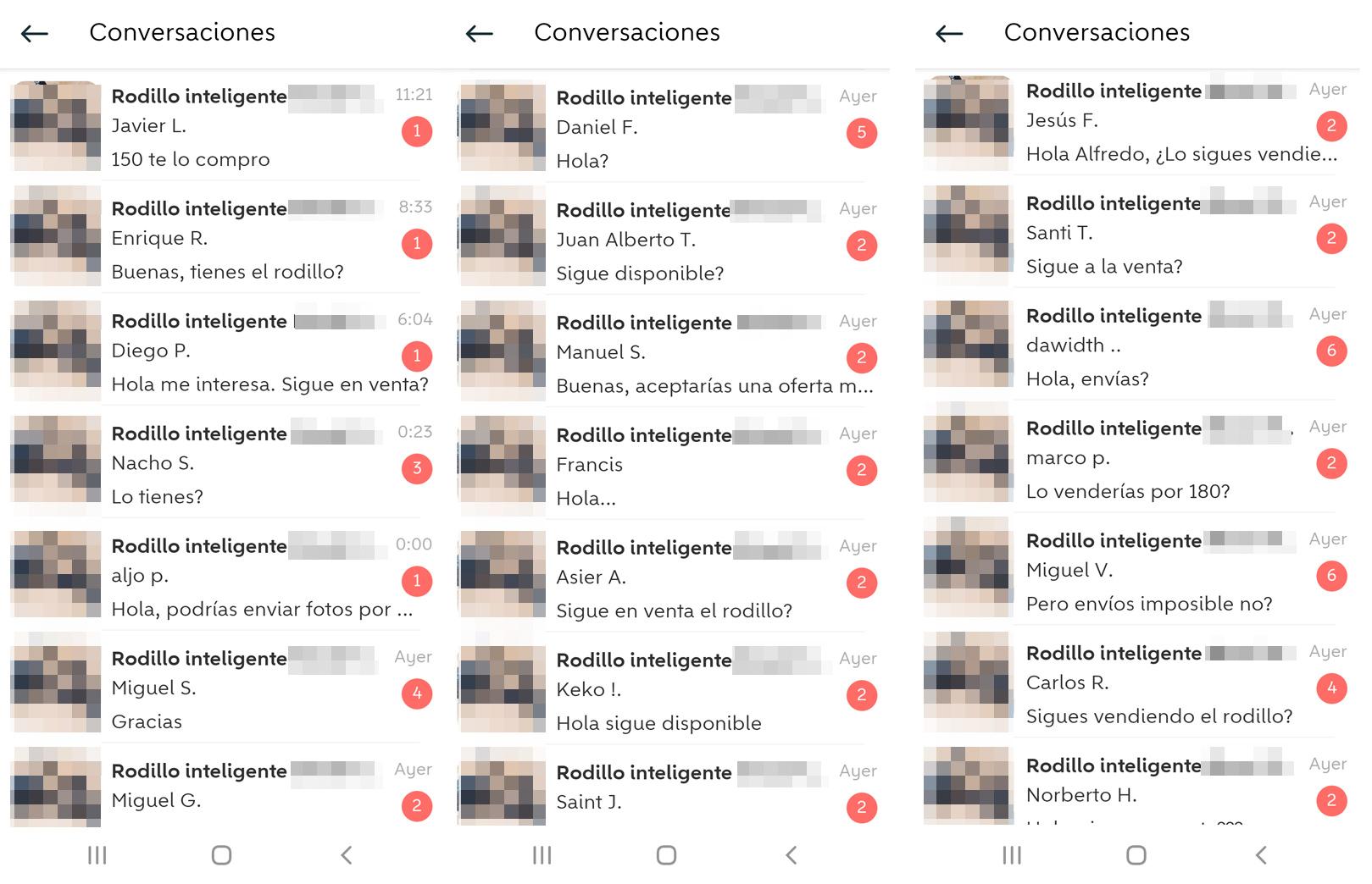 Exactamente 134 usuarios se han interesado por el rodillo en la última semana