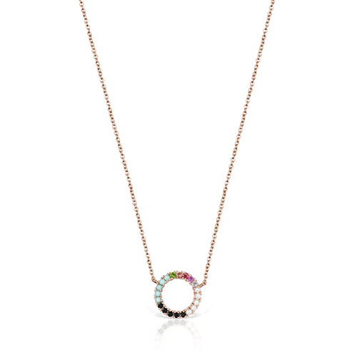 collar Straight disco de plata vermeil rosa con gemas
