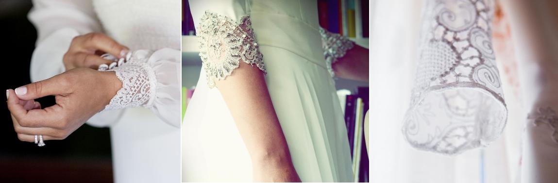 Detalles de los puños de los vestidos diseñados por Teresa Palazuelo. (Instagram)