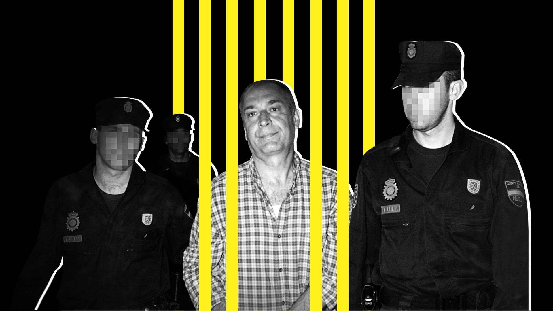 Ilustración de Pototo retenido por policías nacionales