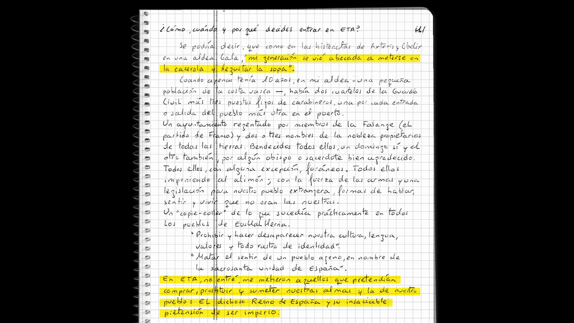 Extracto de la carta de Pototo contestando a las preguntas de los periodistas