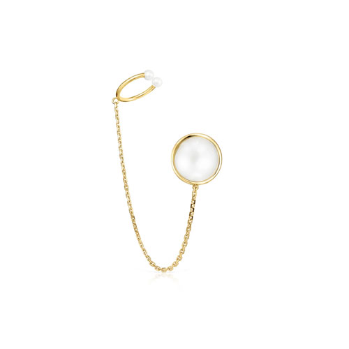 Earcuff Avalon de oro y perlas
